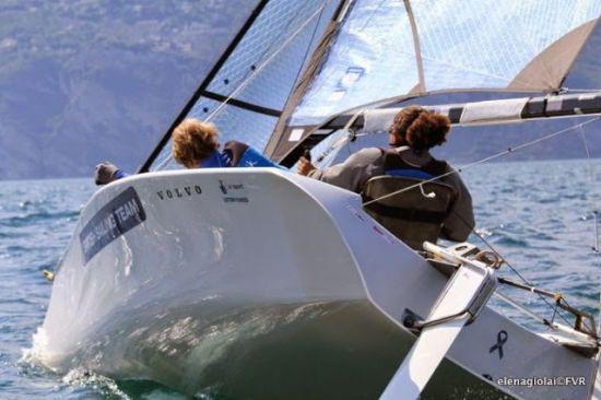Skud 18's sailing at Garda Trentino Olympic Week. Photograph: FVR Media