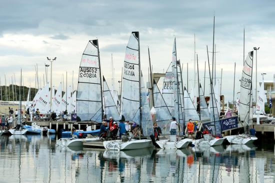 SKUD 18's waiting at the docks SYC Racing -Day 3 ISAF Sailing World Cup - Melbourne 10 Nov 2014 © Sport the library / Jeff Crow